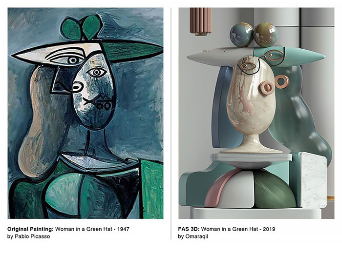 3D Version of Picassos Portraits by CR Studio